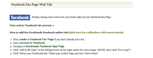 Goodreads Facebook tab