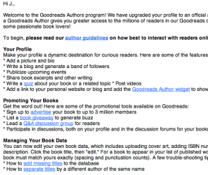 Welcome letter from Goodreads