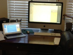 Two Scrivener computer screens